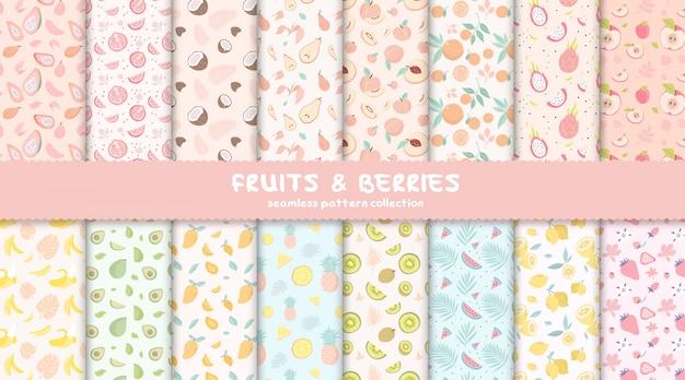 Colección de patrones sin fisuras de frutas y bayas tropicales