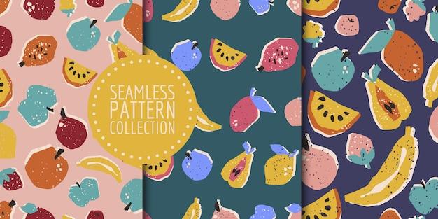 Colección de patrones sin fisuras de frutas dibujadas a mano en vector