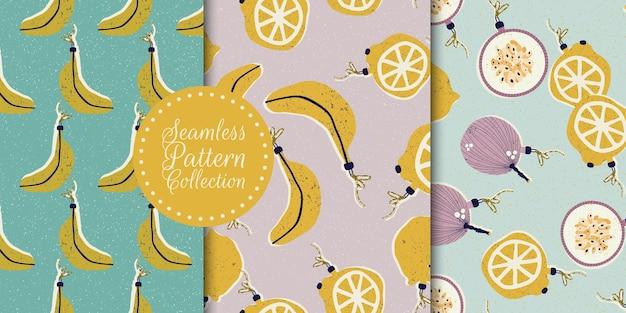 Colección de patrones sin fisuras con frutas