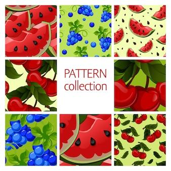 Colección de patrones sin fisuras de frutas.