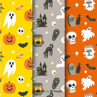 Colección de patrones sin fisuras de halloween dibujados a mano