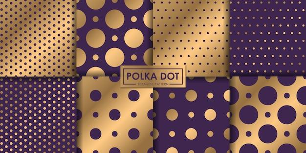 Colección de patrones sin fisuras de lunares de lujo, fondo abstracto, papel pintado decorativo.