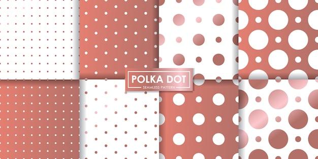 Colección de patrones sin fisuras de lunares de oro rosa de lujo
