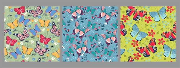 Colección de patrones sin fisuras con mariposas.