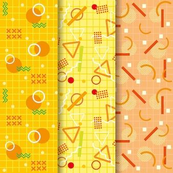 Colección de patrones sin fisuras de memphis amarillo degradado