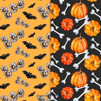 Colección de patrones sin fisuras de murciélago y calabaza de halloween acuarela