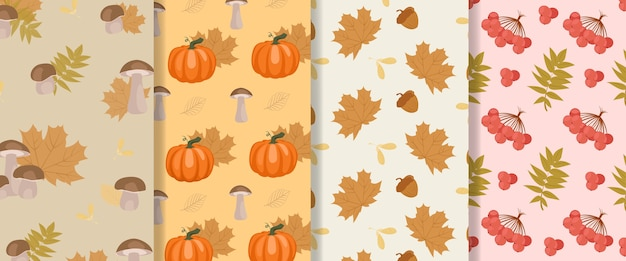 Colección de patrones sin fisuras de otoño