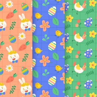 Colección de patrones sin fisuras de pascua feliz diseño plano