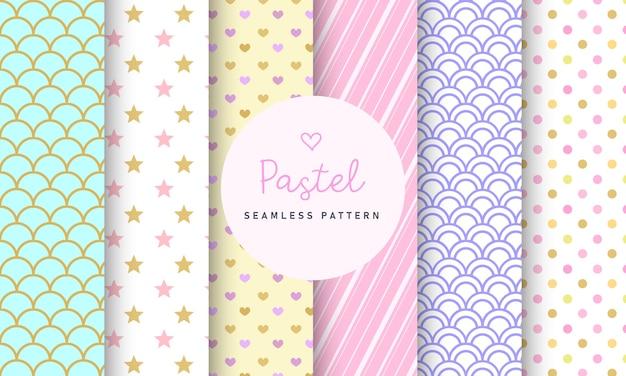 Colección de patrones sin fisuras pastel dulce.