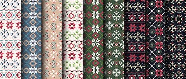 Colección de patrones sin fisuras de píxeles de navidad