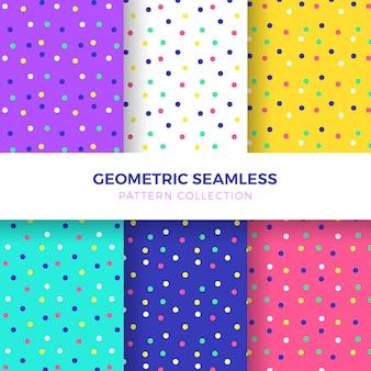 Colección de patrones sin fisuras puntos de colores