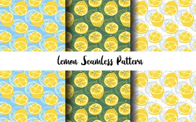 Colección de patrones sin fisuras de rebanada de limón dibujado a mano plano y contorno