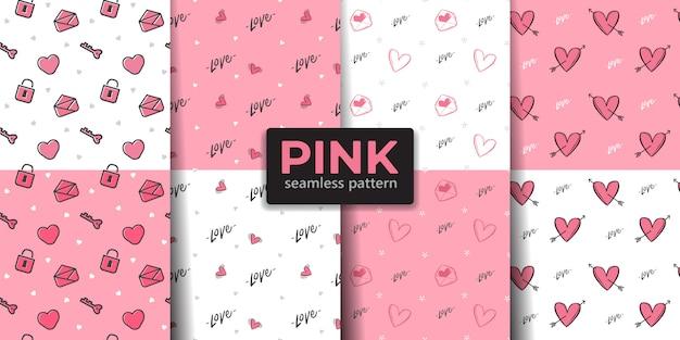 Colección de patrones sin fisuras de san valentín de color rosa.
