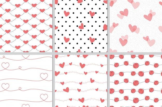 Colección de patrones sin fisuras de san valentín doodle corazón rojo