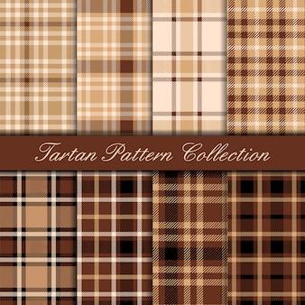 Colección de patrones sin fisuras de tartán marrón y beige