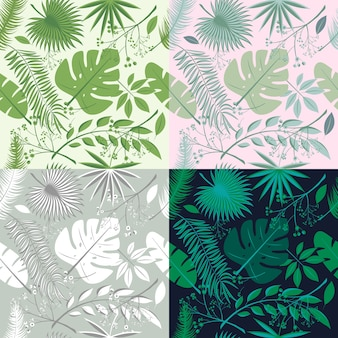 Colección de patrones sin fisuras tropicales. conjunto de plantas hawaianas, hojas de palma. bueno para fondo de pantalla, tarjetas de invitación, estampado textil. ilustración vectorial botánico floral, ilustraciones de moda.