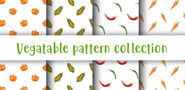 Colección de patrones sin fisuras de verduras.