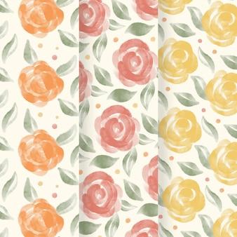 Colección de patrones florales acuarela abstracta