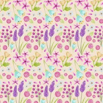 Colección de patrones florales en acuarela