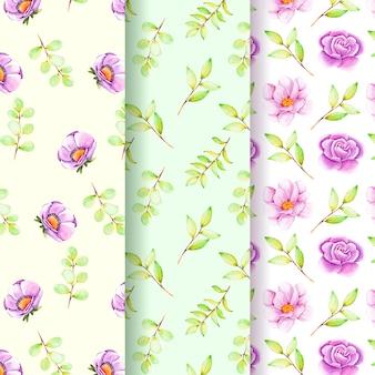 Colección de patrones florales de acuarela