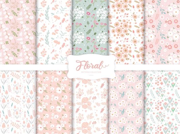 Colección de patrones florales coloridos sin costura
