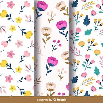 Colección patrones florales dibujados a mano