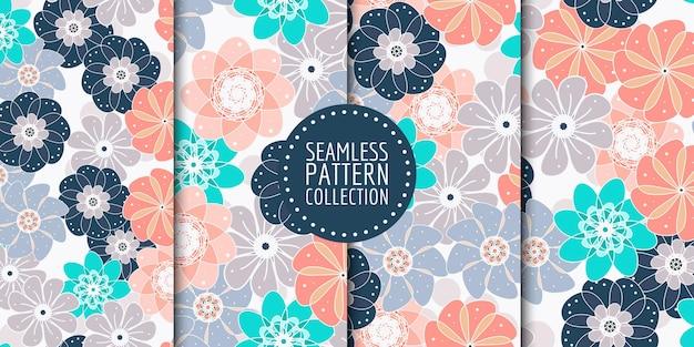 Colección de patrones florales sin fisuras