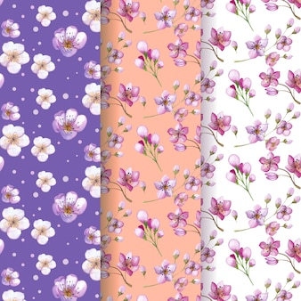 Colección de patrones de flores de cerezo en acuarela