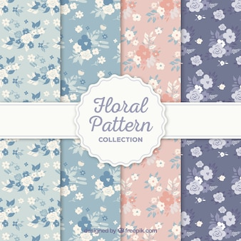 Colección de patrones de flores en estilo plano