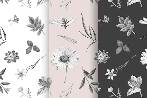 Colección de patrones de flores florecientes