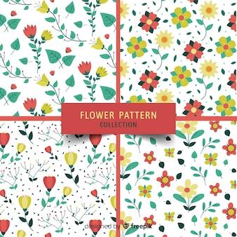 Colección patrones flores y hojas dibujadas a mano