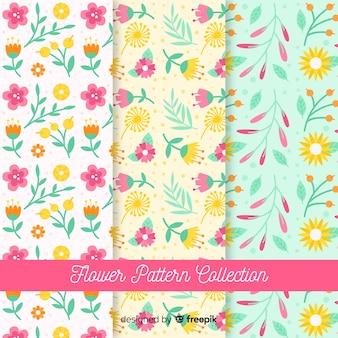 Colección patrones flores y hojas planas
