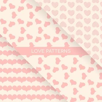 Colección de patrones de fondos de corazones de amor sutil