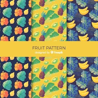 Colección patrones fruta tropical acuarela