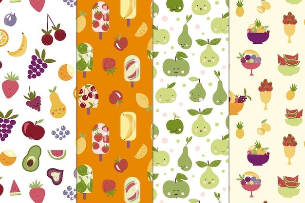 Colección de patrones de frutas