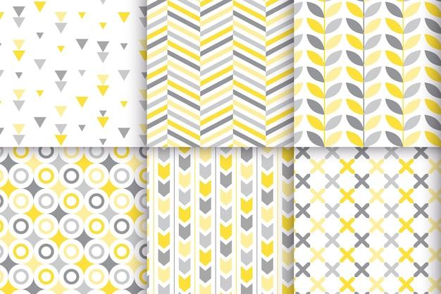 Colección de patrones geométricos amarillos y grises