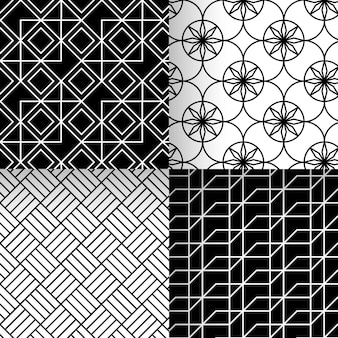 Colección de patrones geométricos en blanco y negro