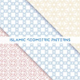 Colección de patrones geométricos sin costura estilo islámico