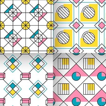 Colección de patrones geométricos de diamantes y círculos