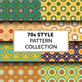 Colección de patrones geométricos estilo años 70.