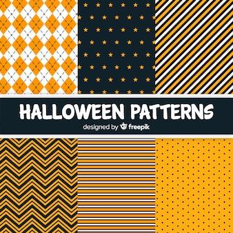 Colección de patrones geométricos de halloween