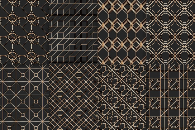 Colección de patrones geométricos de lujo dorado