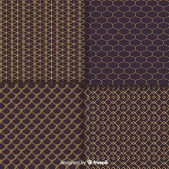 Colección de patrones geométricos de lujo marrón