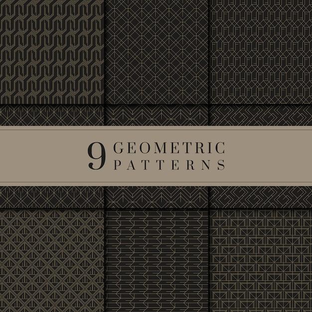 Colección de patrones geométricos en negro y oro.