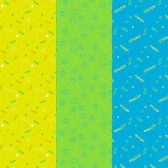 Colección de patrones geométricos tricromáticos