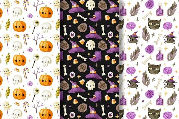 Colección de patrones de halloween en acuarela