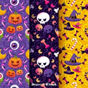 Colección de patrones de halloween de calabazas y brujería