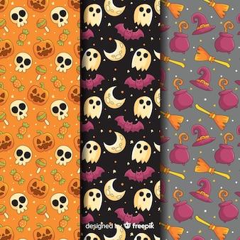 Colección de patrones de halloween con calaveras y fantasmas