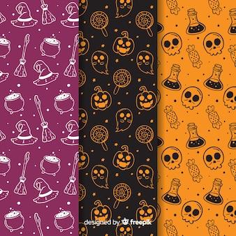 Colección de patrones de halloween dibujados a mano en negativo