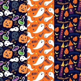 Colección de patrones de halloween dibujados a mano